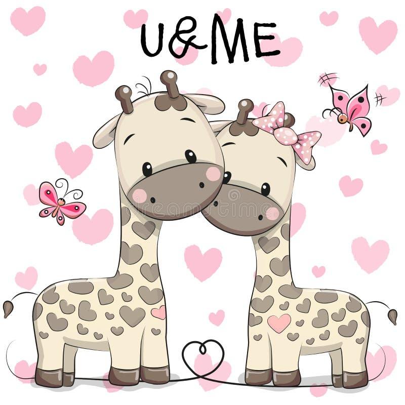 Two cute giraffes royalty free illustration
