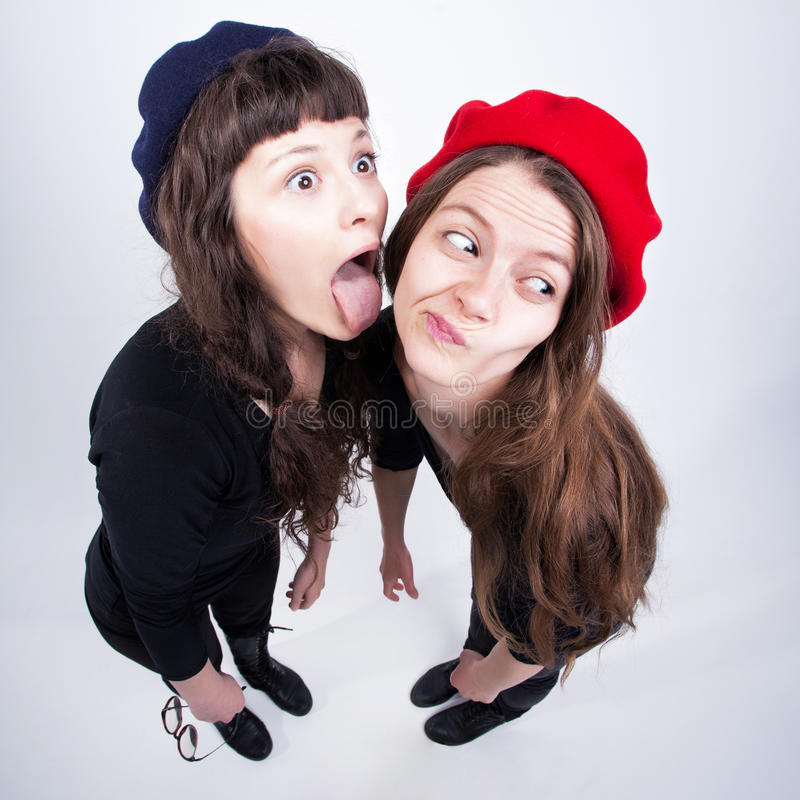 Download Two Cute Girls Having Fun And Making Funny Faces Stock Image - Image: 31459289