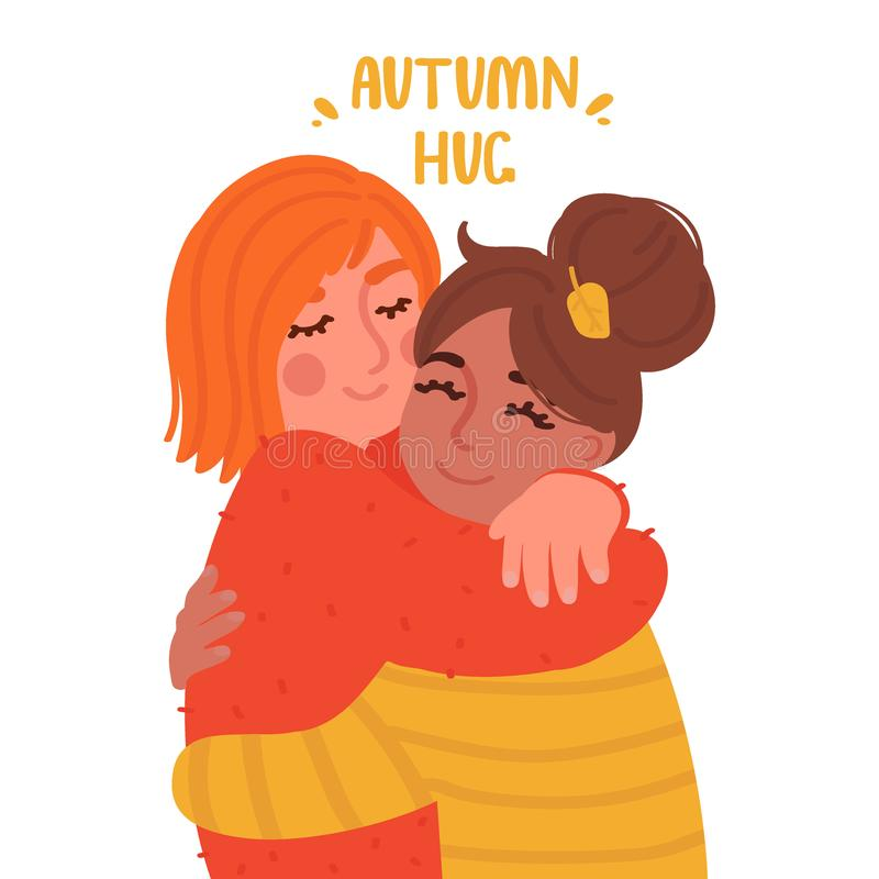 Two cute girls hugging. Cartoon style characters. Vector illustration vector illustration