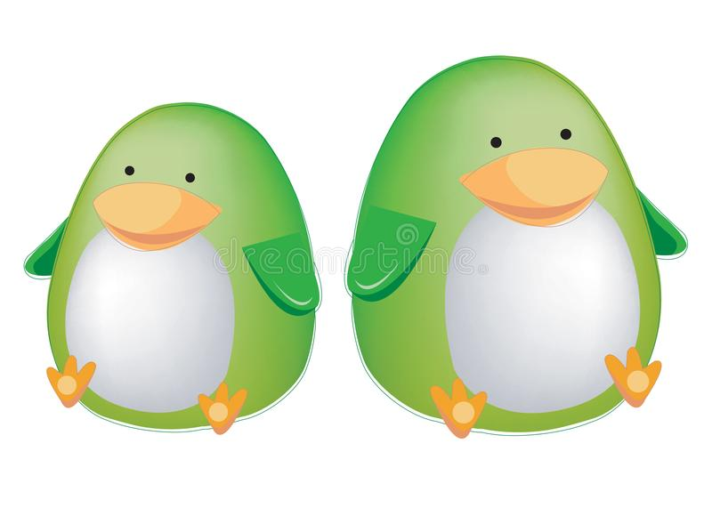 Two cute green penguins isolated on white background. Vector illustration for gift card, flyer, certificate or banner, icon, logo, vector illustration