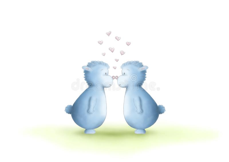 Two cute hand drawn, gender neutral, blue fantasy creatures, equal sexes, showing love by rubbing noses stock illustration