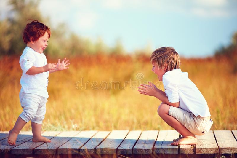 Cute happy kids, brothers playing together on summer field royalty free stock image