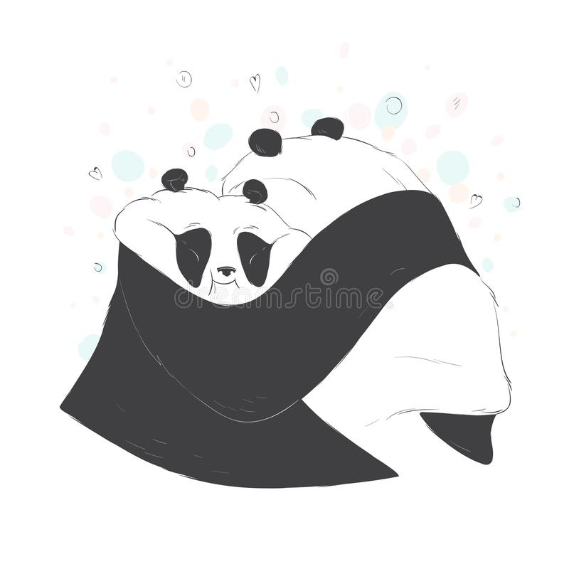 Two cute hugging pandas love vector hand drawn illustration. Beautiful animal design elements royalty free illustration