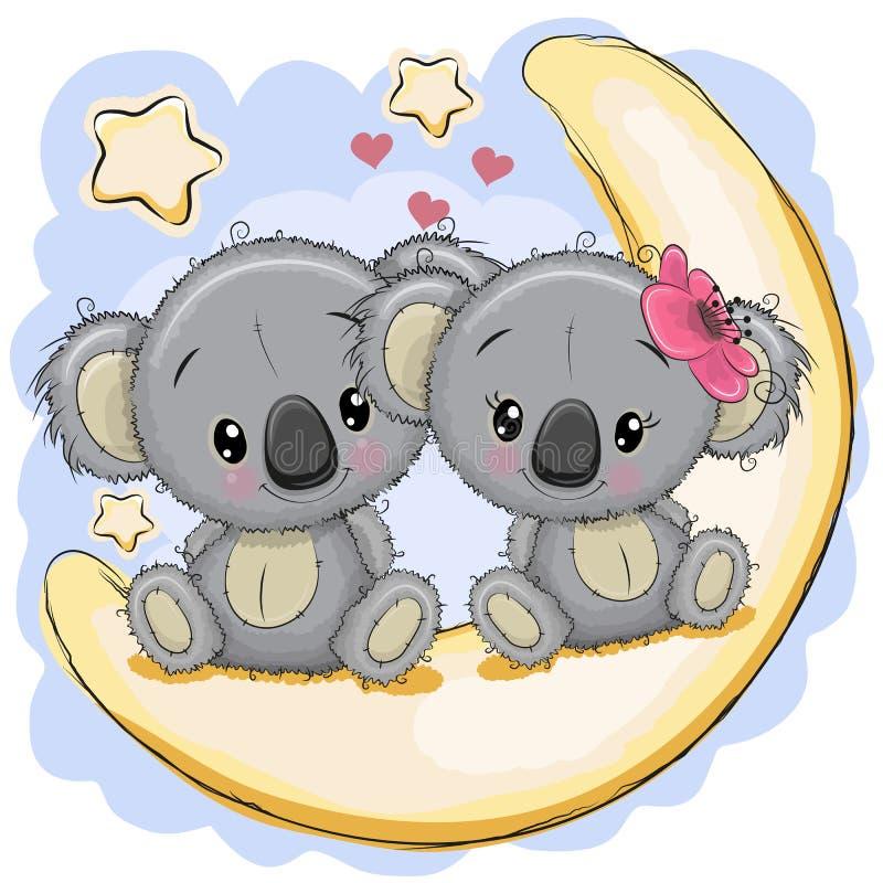 Sweet Baby Koala Girl Rose Love Giftcard Set Stock Vector