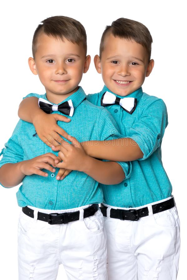 Two little boys close-up. stock images