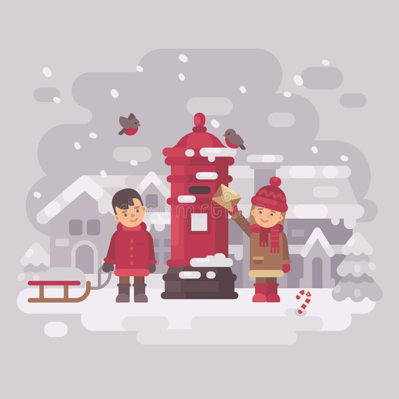 Two cute little children sending a letter to Santa Claus royalty free illustration
