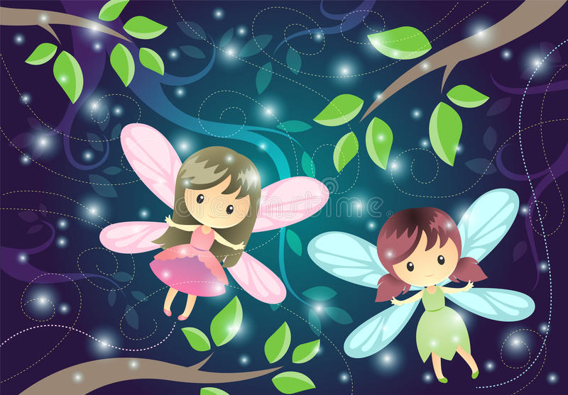Two Cute Little Fairies. Two cute cartoon little fairies flying in the night royalty free illustration