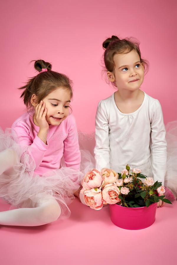 Two cute little girls in tulle skirts with a bouquet of flowers on a pink background royalty free stock photo