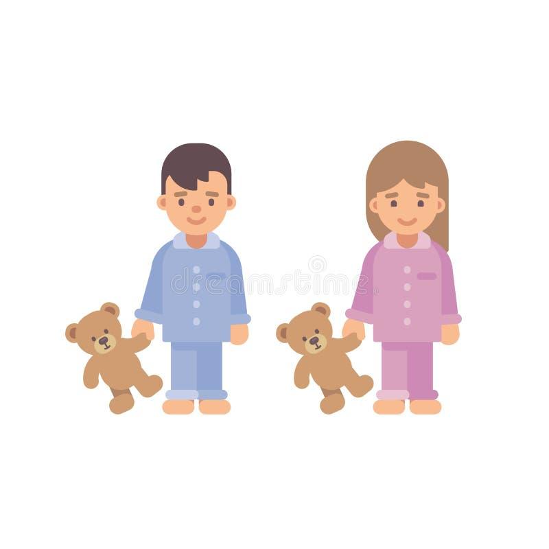Two cute little kids in pajamas holding teddy bears. Boy & girl vector illustration