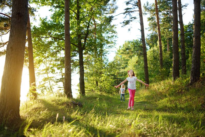 Two cute little sisters having fun during forest hike on beautiful summer day. Active family leisure with kids. stock images