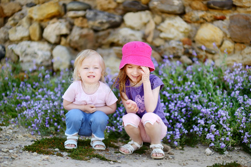 Two cute little sisters at summer royalty free stock image