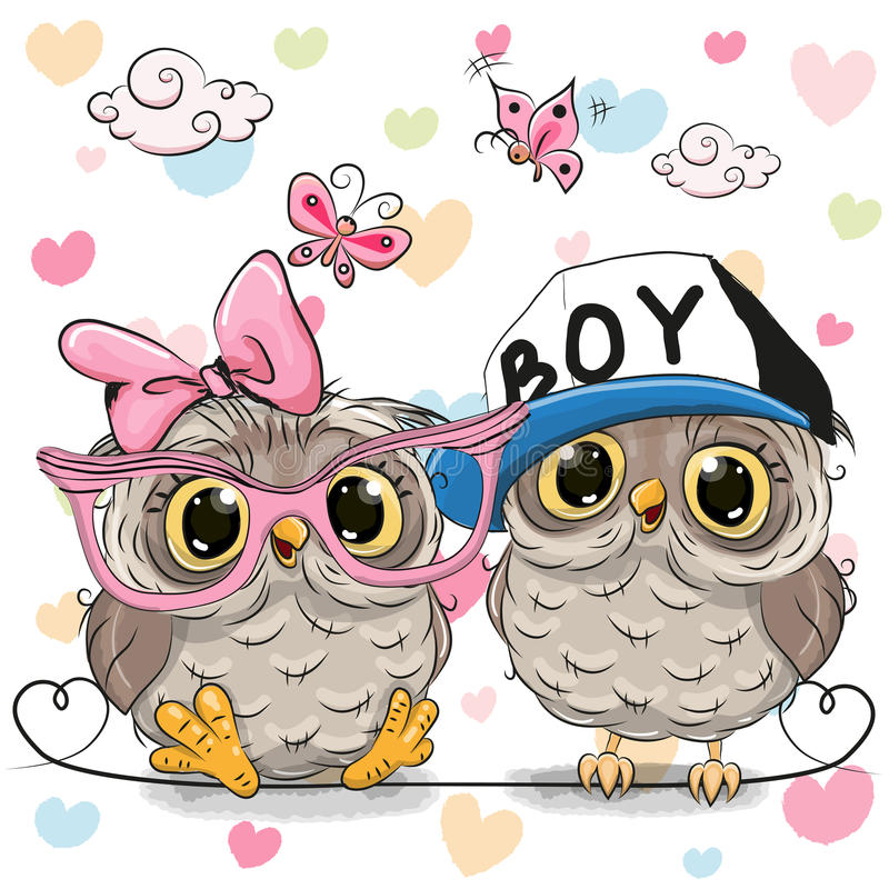 Free Two Cute Owls Royalty Free Stock Image - 78661186