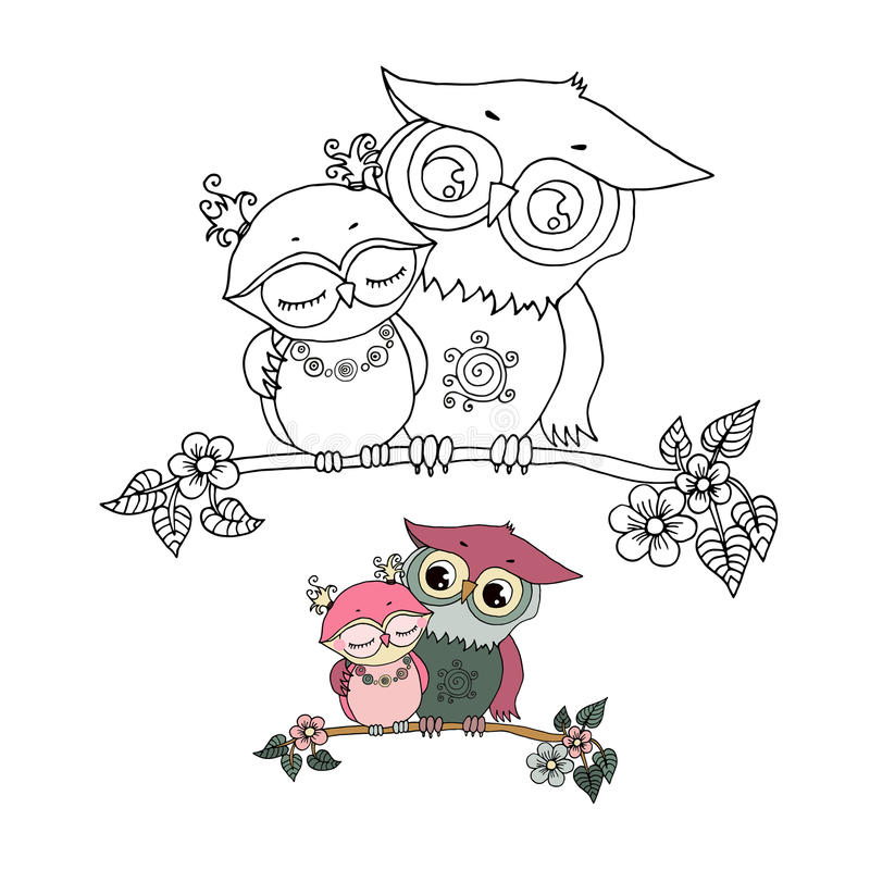 Two cute owls fallen in love royalty free illustration