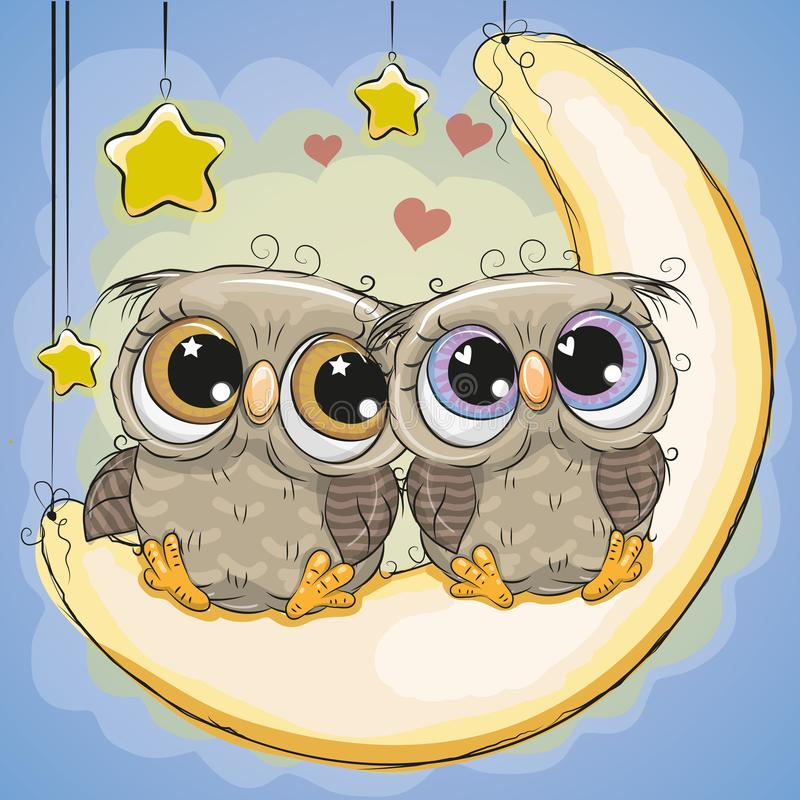 Two Cute Owls is sitting on the moon. Two Cute Cartoon Owls is sitting on the moon royalty free illustration