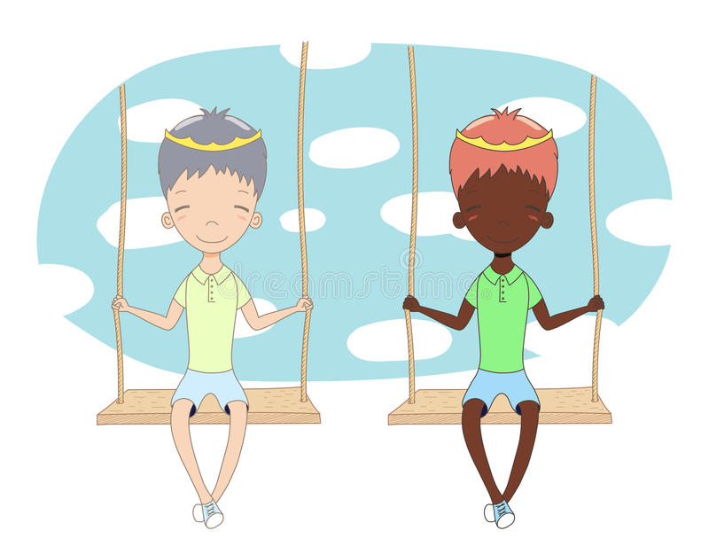 Two cute princes on a swing. Hand drawn vector illustration of two cute little princes & x28;crown can be removed& x29;, sitting together on a swing, with sky royalty free illustration