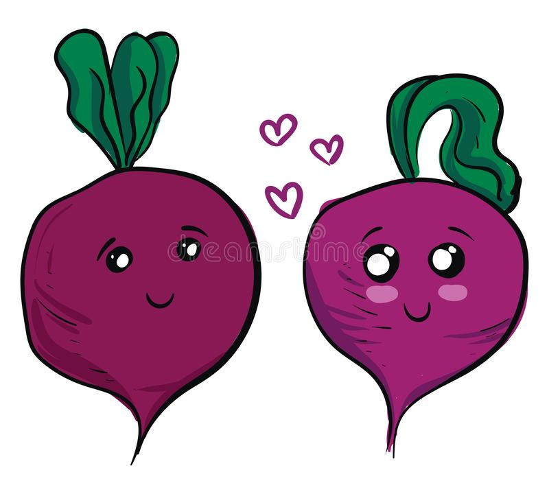 Two cute purple beets in love vector illustration. On white background royalty free illustration