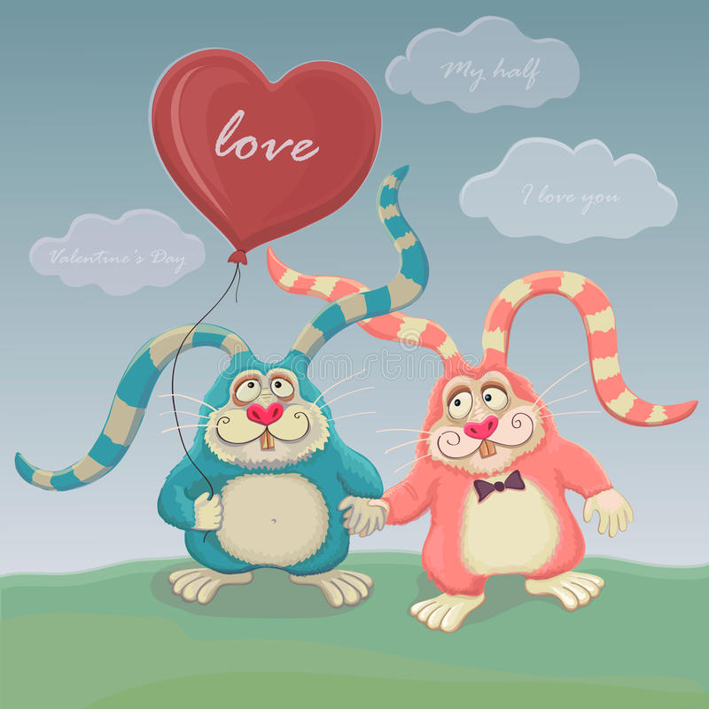 Two cute rabbit with balloon walk. Postcard Valentines day. Two cute rabbit with balloon walk. Postcard Valentine`s day royalty free illustration