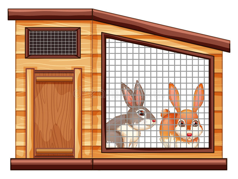 Two cute rabbits in coop stock illustration