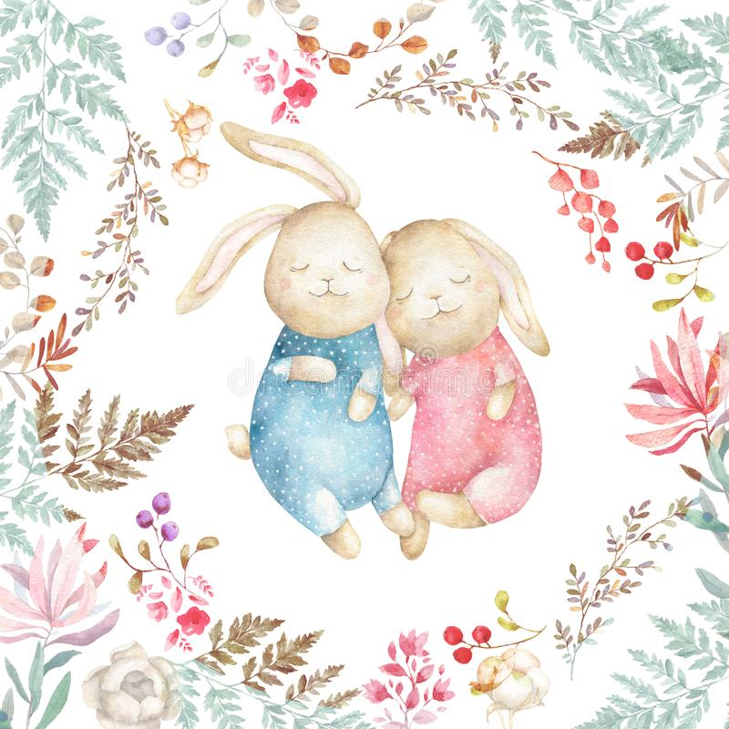 Two cute Rabbits and cotton. Watercolor Easter art print. Hand drawn illustration. Beauty cartoon bunny with flowers and floral, vector illustration