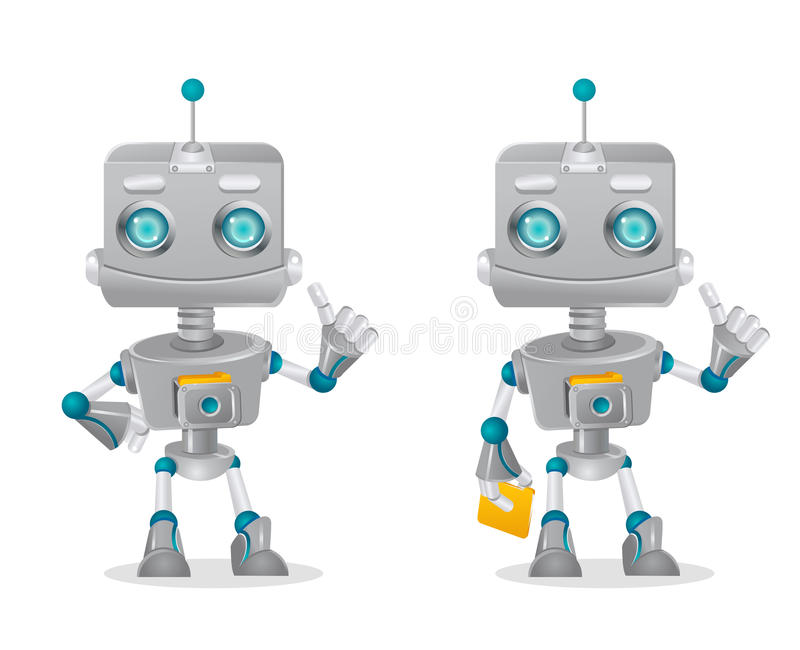 Two cute robots gesturing vector illustration