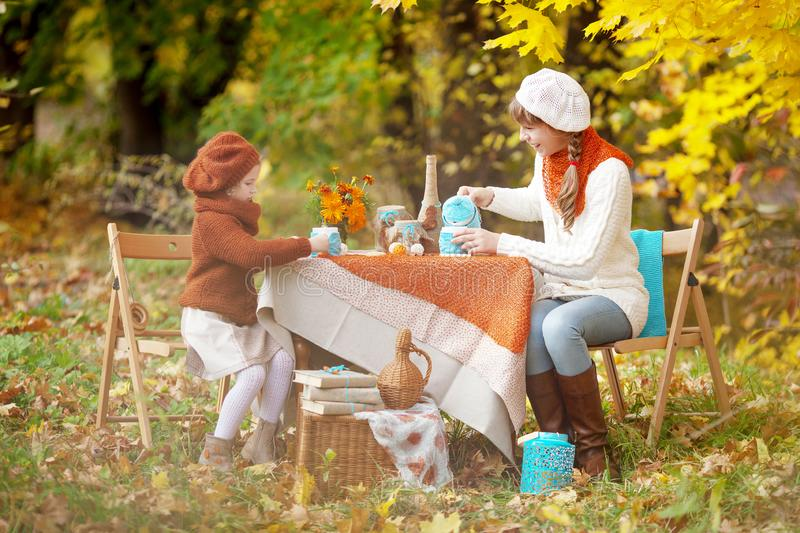 Two cute sisters  on picnic in autumn park. Adorable little girls  having tea party outside in the autumn garden.  Girls drinking royalty free stock photography