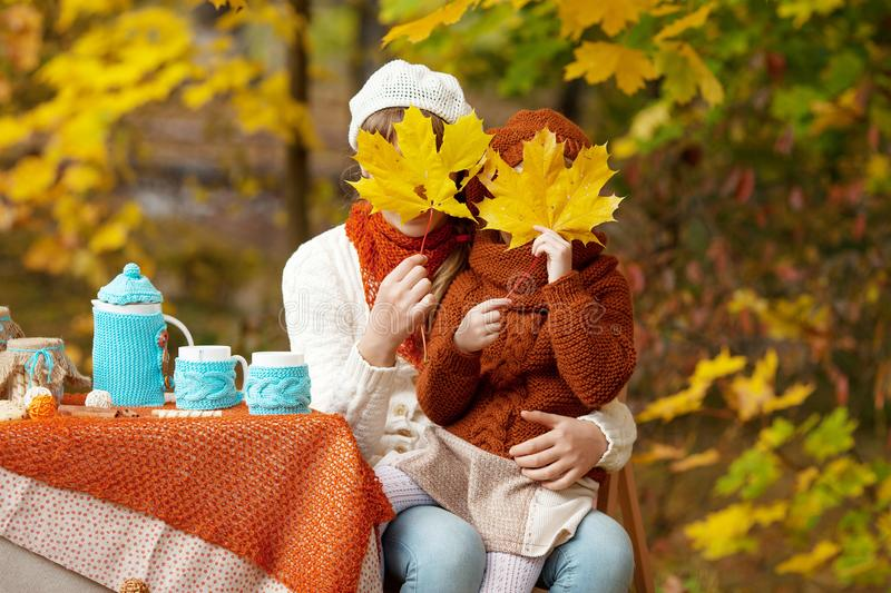 Two cute sisters  on picnic in autumn park. Adorable little girls  having tea party outside in the autumn garden.  Girls plying royalty free stock photo