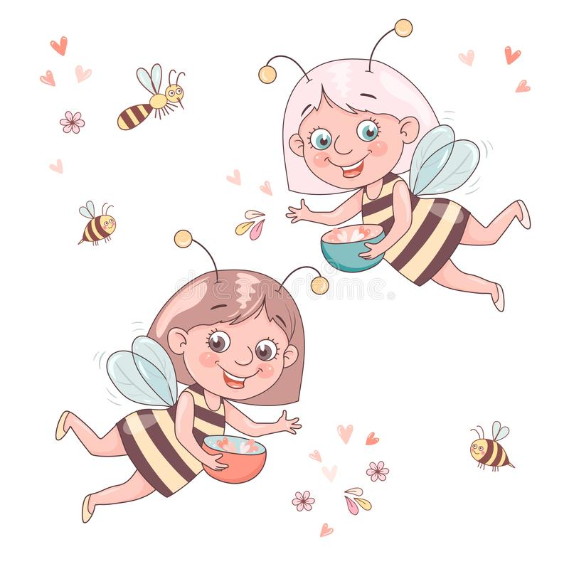 Two cute smiling cartoon girl bee flies surrounded by a honeybees and bumblebees. vector illustration