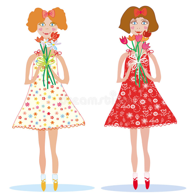 Two cute smiling girls stock illustration