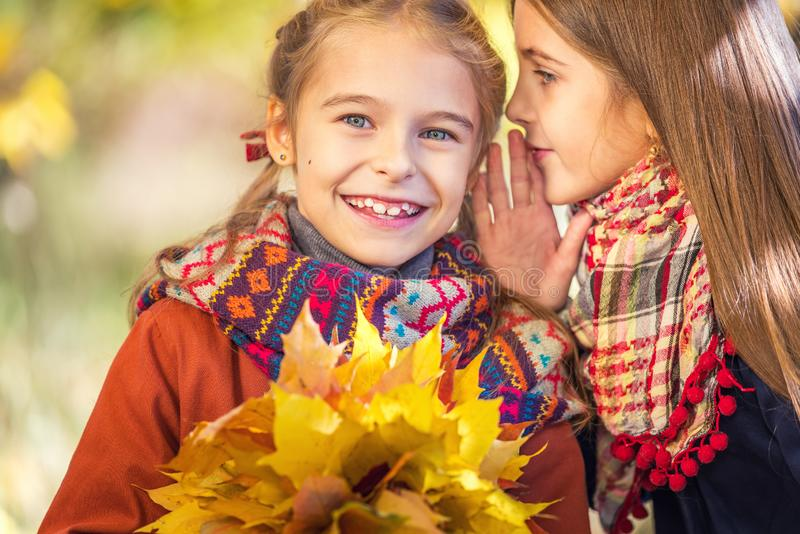 Two cute smiling 8 years old girls chatting in a park on a sunny autumn day. Friendship concept royalty free stock image