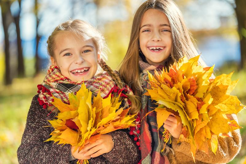 Two cute smiling 8 years old girls posing together in a park on a sunny autumn day. stock photo