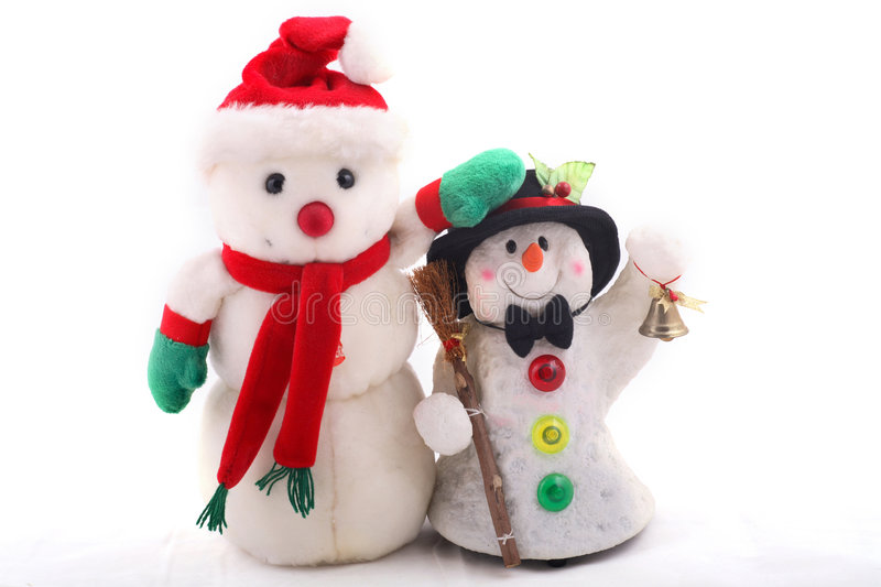 Two cute snowmen stock photography