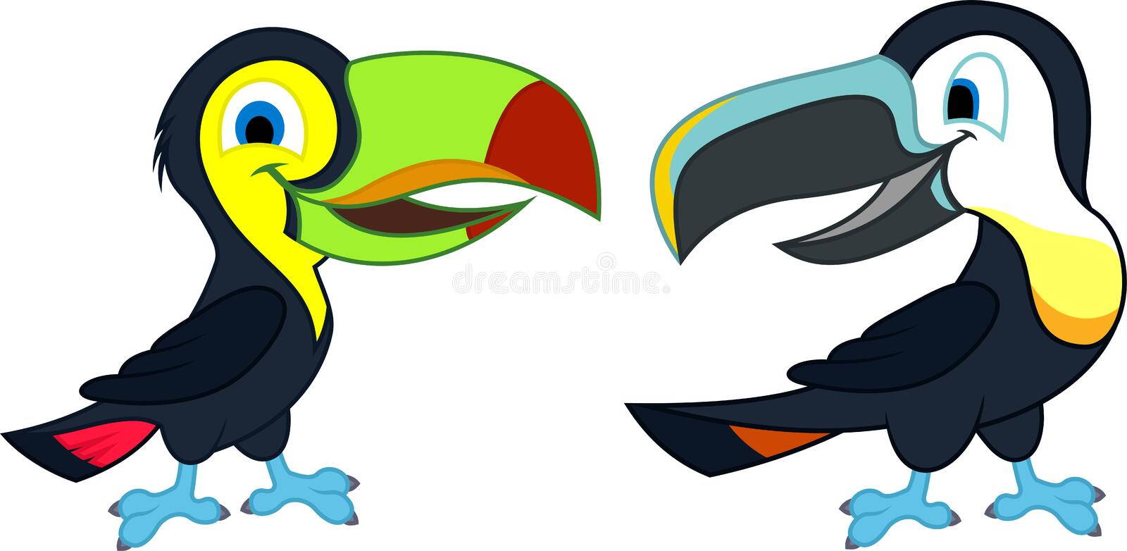Two cute Vector cartoon rainbow-billed and channel-billed toucans stock illustration