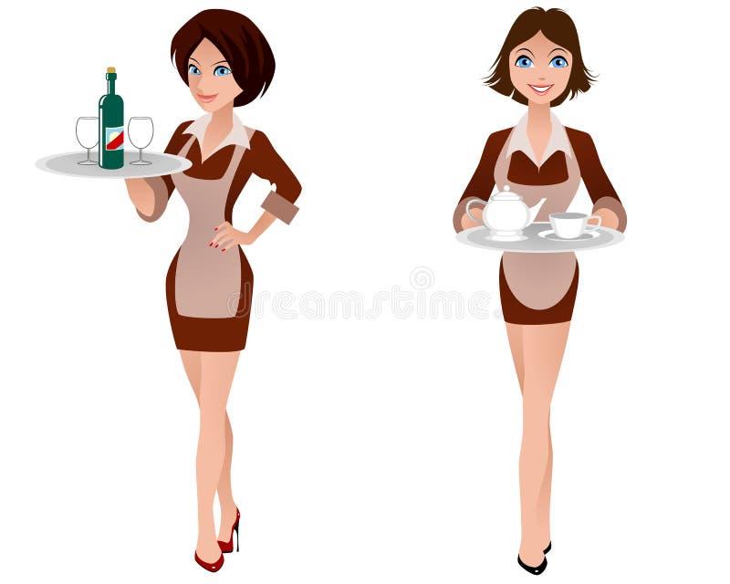 Two cute waitress stock illustration
