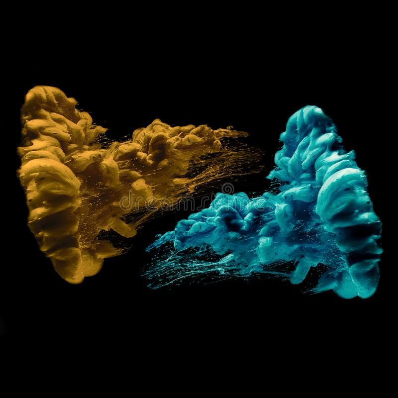 Two Cyan And Golden Abstract Ink In Water On A Black Background. Two abstract artistic cyan and Golden Ink in water on a black background. Isolated. Collection vector illustration