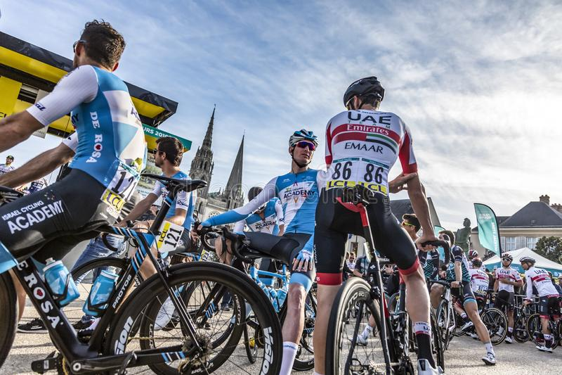 Two Cyclists Discussing - Paris-Tours 2019 royalty free stock image
