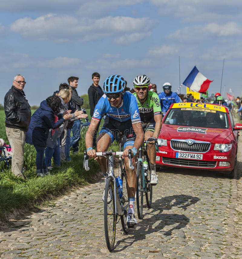 Two Cyclists- Paris Roubaix 2014 Editorial Photo