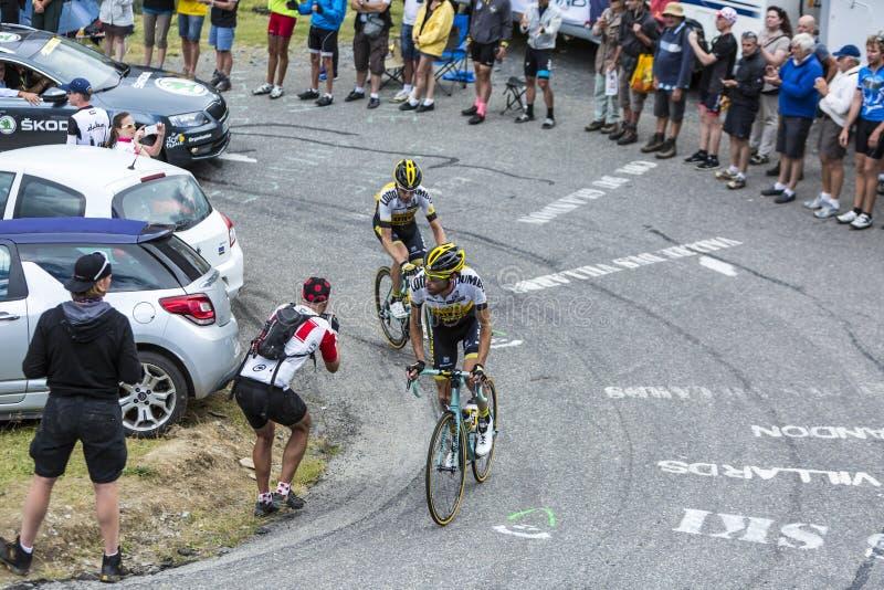 Two Cyclists - Tour de France 2015 stock image