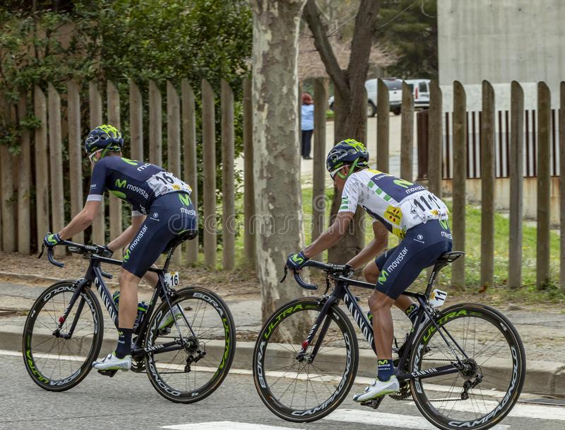Two Cyclists - Volta Ciclista a Catalunya 2016 royalty free stock image