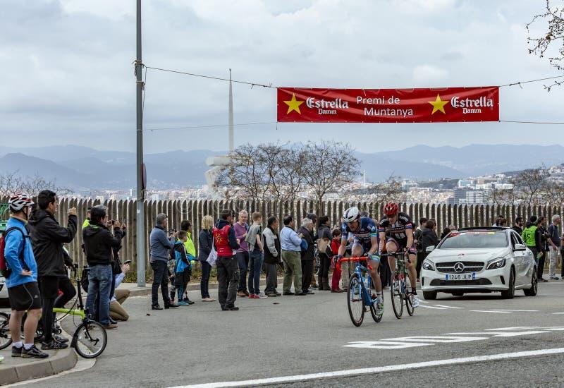 Two Cyclists - Volta Ciclista a Catalunya 2016 royalty free stock photos