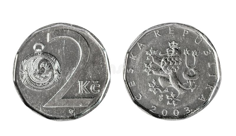 Two Czech koruna 2003. Isolated object on a white background. royalty free stock photography