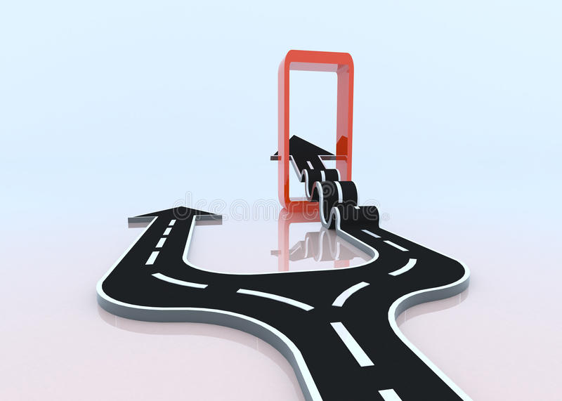 Download Two 3D Arrows Taking Their Own Path Stock Illustration - Image: 32901915