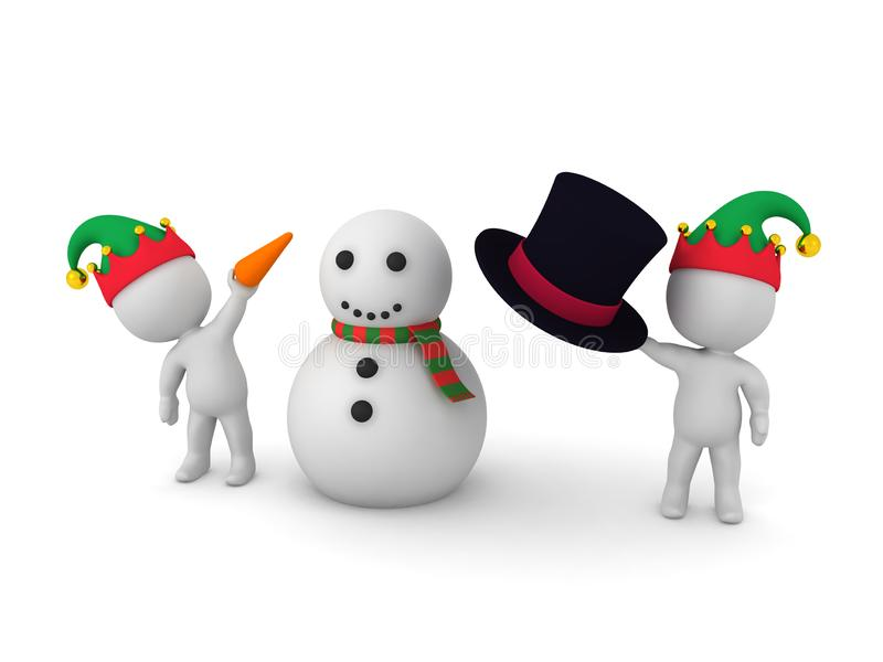 Two 3D characters with elf hats are building a snowman stock illustration