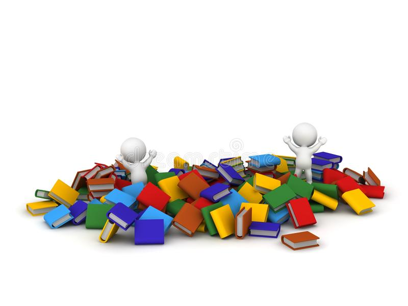 Download Two 3D Characters Jumping And Lots Of Colorful Books Stock Illustration - Image: 42881987