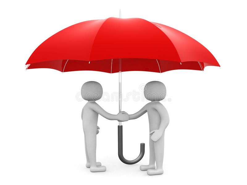 Two 3d man - people shaking hands under a red umbrella stock illustration