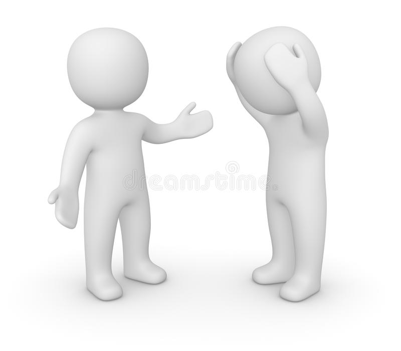 Two 3d men speaking. vector illustration