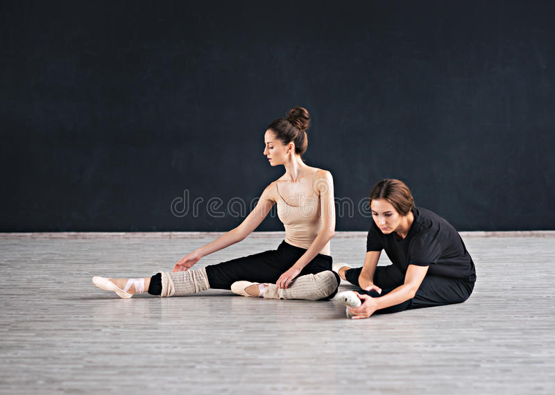 Two dancers friends practice in dance studio royalty free stock images