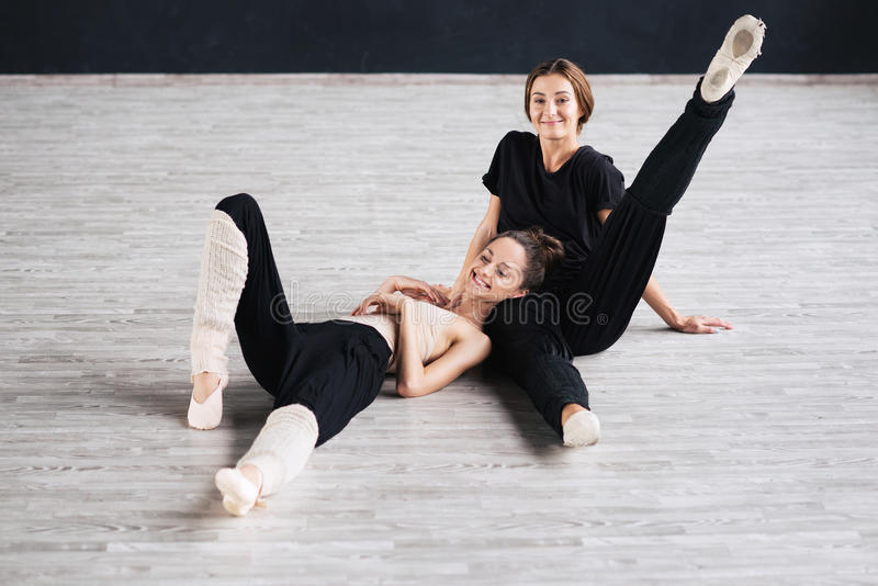 Two dancers friends practice in dance studio. Photo royalty free stock photos