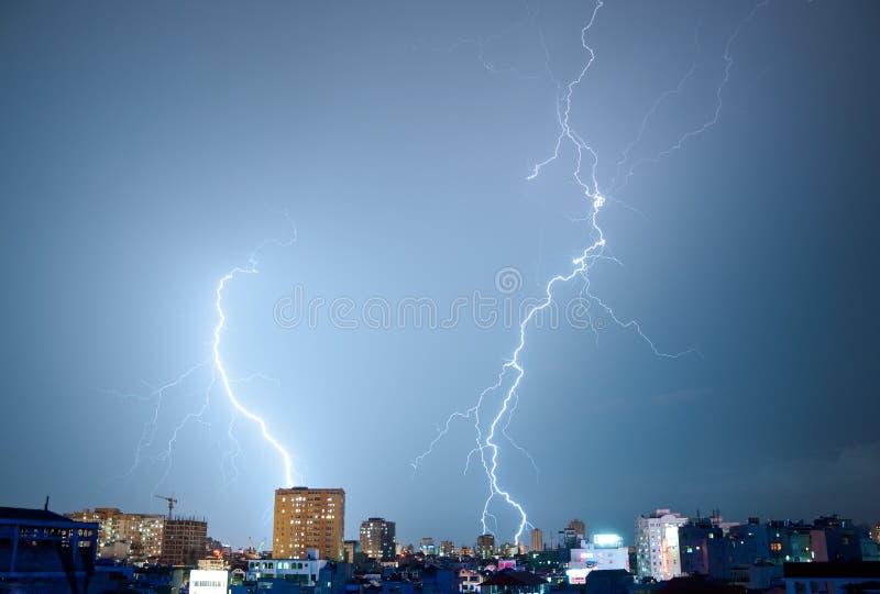 Two Dancing Lightnings royalty free stock image