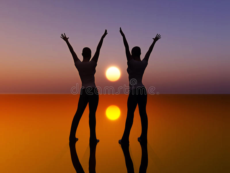 Two dancing women. Digital composition of two women looking at the sunrise dancing full of joy. symbol of success and peace stock illustration