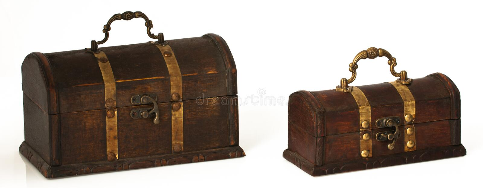 Download Two Dark Wooden Chests On A White Background Stock Image - Image: 17409745